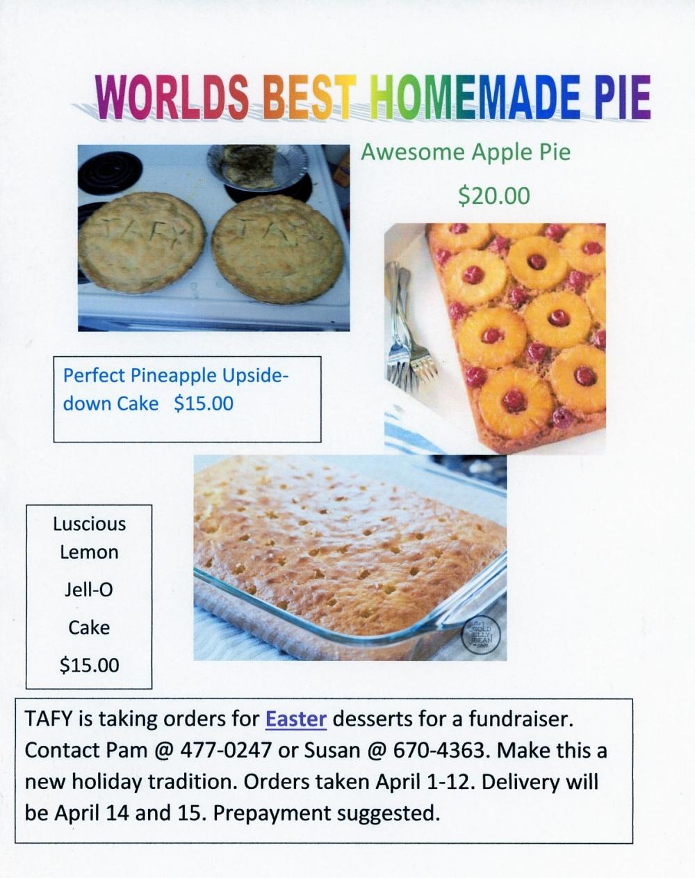 TAFY Easter Pie Sale!